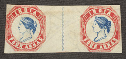 India: 1854, 4 annas, blue and pale red, an unused horizontal pair.
